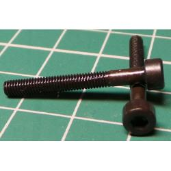 Screw, M3x25, Cheese Head, Hex, Black Finish