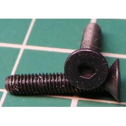 Screw, M3x16, Countersunk Head, Hex, Black Finish