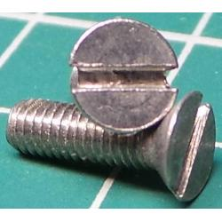 Screw, M3x10, Countersunk Head, Slotted, Stainless Steel