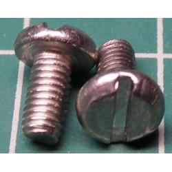 Screw, M3x6, Button Head, Slotted, Stainless Steel