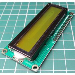 1602 LCD Module, 16x2, HD44780 Controller, Yellow/Green Backlight