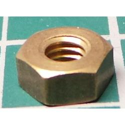 Nut, M4, Brass, For 7mm Spanner
