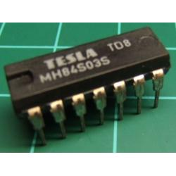 7403, MH84S03S (Hi Spec 74S03), TESLA, quad 2-input NAND gate with open collector outputs