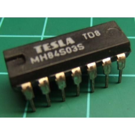 MH84S03S (Hi Spec 74S03), TESLA, quad 2-input NAND gate with open collector outputs