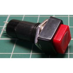 Switch, Push Button (Momentary), SPST, 250V, 1A, Red, Needs 12mm hole