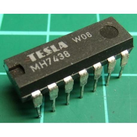 MH7438, TESLA, quad 2-input NAND buffer with open collector outputs