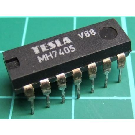 MH7405, TESLA, hex inverter with open collector outputs