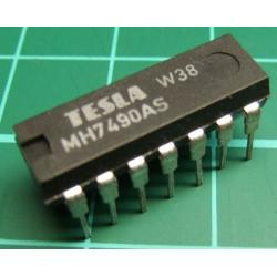 7490, MH7490AS, TESLA, decade counter (separate divide-by-2 and divide-by-5 sections)