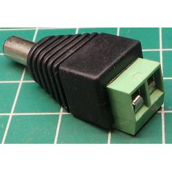2.1 mm PSU connector, Female - Screw Terminals
