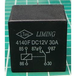 Car Relay, 12V, 30A/40A, 28x28x25mm, NVF4-1