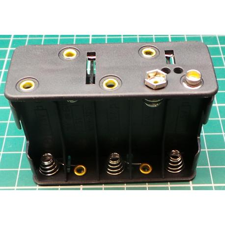 Battery holder 10xR6 / AA / UM3 with clips