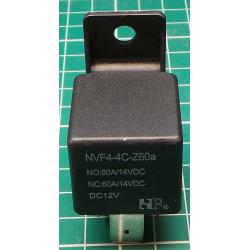 Car Relay, 12V, 60A / 80A, 29x29x27mm, with Mounting hole, NVF4-4
