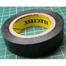 Insulating tape, 0.13 x 15mm x 10m, Black