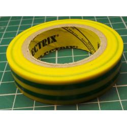 Insulating tape, 0.13 x 15mm x 10m, yellow/green