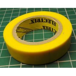 Insulating tape, 0.13 x 15mm x 10m, Yellow