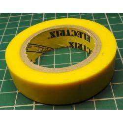 Insulating tape, 0.13 x 15mm x 10m, Yellow