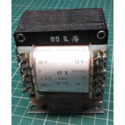 Transformer, 30W, 220V to 2x10V+2x12V+1x15V