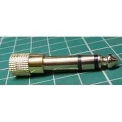 3.5mm Jack Socket to 6.5mm Jack Plug, Gold Plated