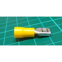Connector: flat, 6.3 mm, 0.8 mm, socket, 4 to 6 mm2, Crimp, yellow