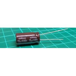 Capacitor: electrolytic, THT, 15uF, 400V, Ø10x20mm, Pitch: 5mm