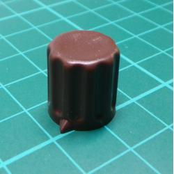 Knob, for 6mm shaft, Brown, Style 2