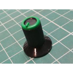Knob, for 6mm knurled shaft, Ø10x19mm, Black, green, Style 7