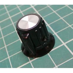 Knob, with pointer, Pr.hříd: 6.35 mm, Ø20x17mm, Shaft, smooth