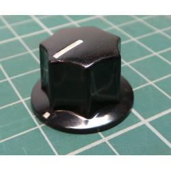 Knob, for 6mm shaft, Ø21x15mm, Screw Fixing - Metal Insert