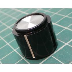 Knob, for 6mm shaft, Ø20x15.9mm, Screw Fixing - Metal Insert