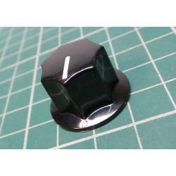 Knob, for 6mm shaft, Ø18.5x15mm, Screw Fixing - Metal Insert