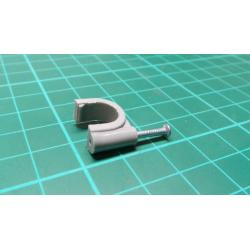 Nail in Clip, for 10mm Round Cable, 22mm Nail, Grey
