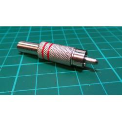 RCA / Phono Plug, All Metal, Red Stripe