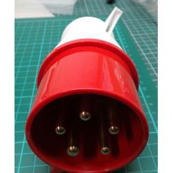 3 Phase Plug, 5-Pin, 415V, 32A, 16A, IP44