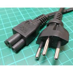 0.65m Swiss Plug to Clover Socket Cable, 250V, 10A