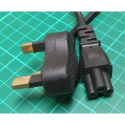 1.2m UK Plug to Clover Socket Cable, 250V, 10A