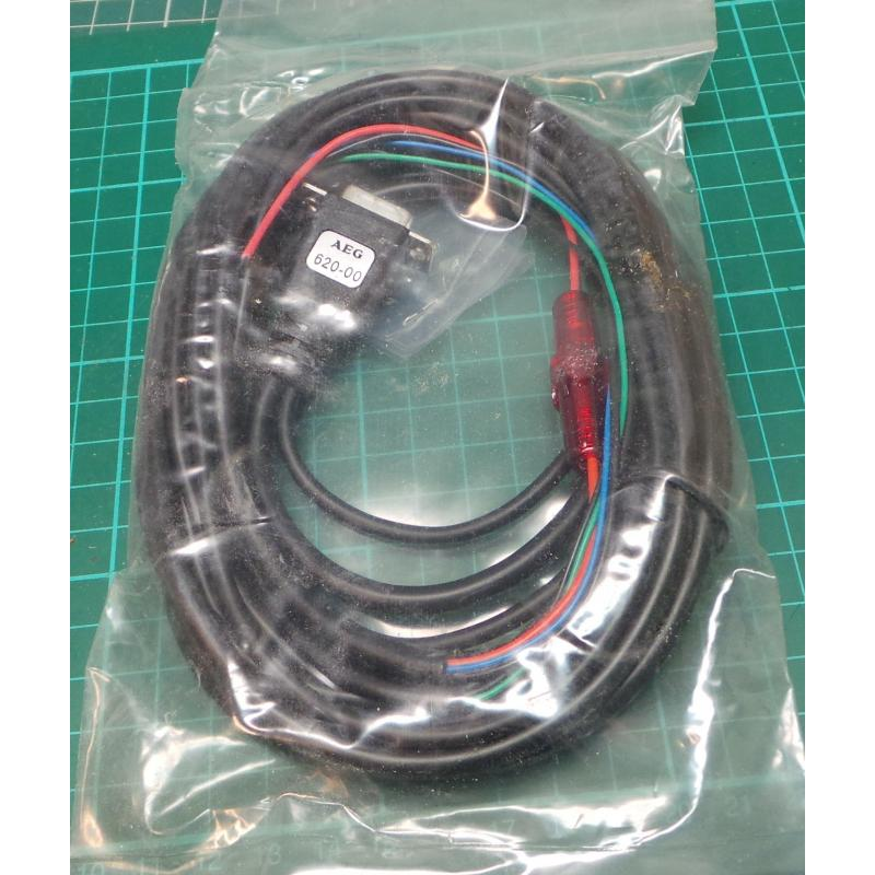 2.7m 9 Pin D-Sub Socket to 5 Stripped Wires , With Fuse Holder and ...