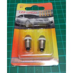 Bulb, E10, White LED, 12V (2pcs in photo)