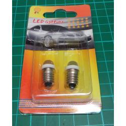 Bulb, E10, White LED, 24V