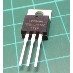 IRF540N, N Channel MOSFET, 100V, 33A, 130W, 44mOhm, TO220
