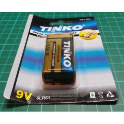 Battery, 9V, 6F22 / 1604D / PP3, alkaline