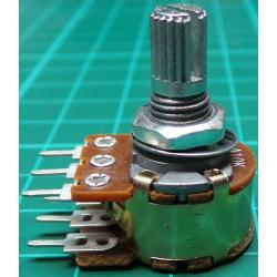 Potentiometer, 2x10K, Log, THT, 6x10mm Shaft
