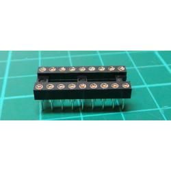 IC DIL Socket, 18 Pin, Turned Contacts
