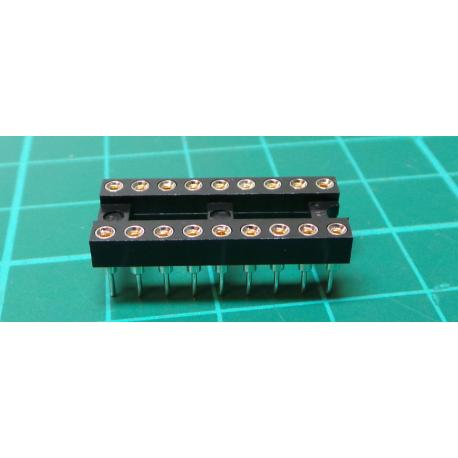 Socket: DIP, PIN: 18, 7.62 mm, gilt, polyester, UL94V-0, 1A, THT