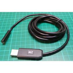 2M 6 LED USB Waterproof Endoscope Borescope Snake Inspection Video Camera 7mm HT