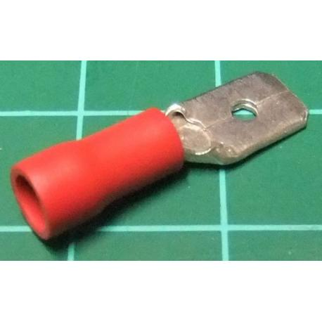 6.3mm Spade Terminal, Male, Red