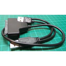 """USB 2.0 to SATA 7+15 Pin 22Pin Adapter Cable For 2.5"""" HDD Hard Disk Drive A@"""