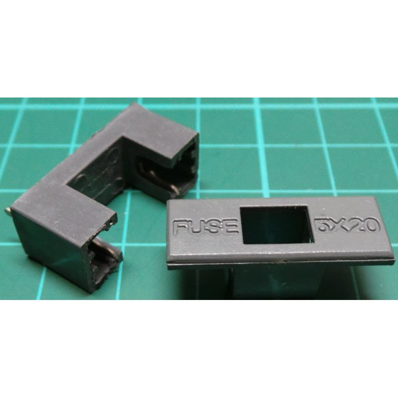 Fuse Holder  Pcb Mount  For 5mmx20mm  With Cover