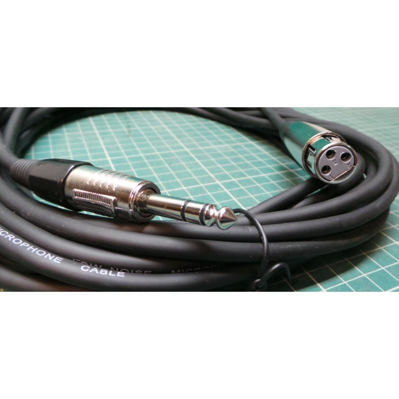 XLR Female to 6.35mm Male Stereo TRS Cable, 10m, OFC Cable, 6 mm Dia ...