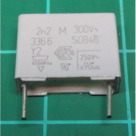 Capacitor, 2.2nF, 300V, Polyester Film, Cropped Legs