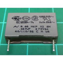 Capacitor, 47nF, 275V, Polyester Film, Cropped Legs